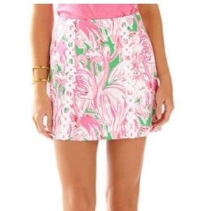 Lilly Pulitzer Pink Flamingo Skirt with Lace, Sz 0